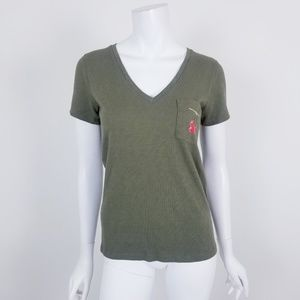J. Crew XS Olive Green Cherry Pocket T Shirt